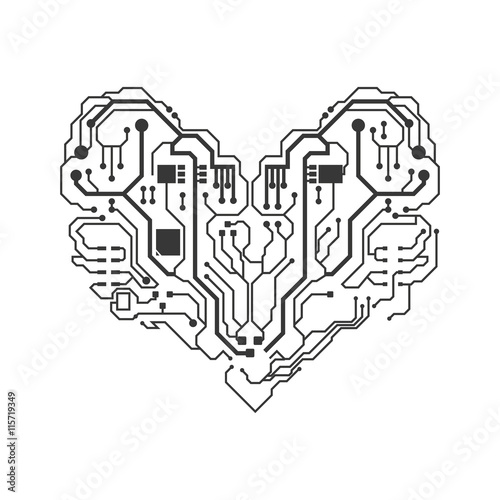 u0026quot technology concept represented by circuit board heart
