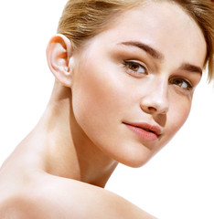 Beauty portrait. Close up. Perfect fresh skin. Youth and Skin Care Concept.