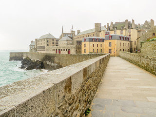Ancient buildings in Saint Malo. Bretagne, France
