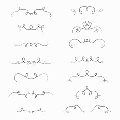 Set of hand drawn borders made with brush and ink. Unique swirls and dividers for your design. Vector illustration