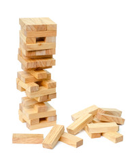 blocks wood game (jenga) on white background.