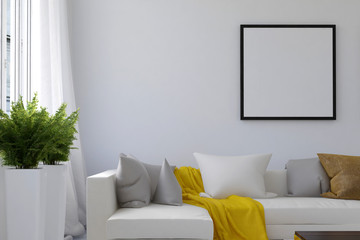 Living room scene with blank picture frame