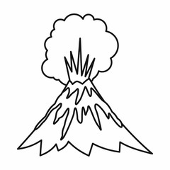 Volcano erupting icon in outline style isolated vector illustration