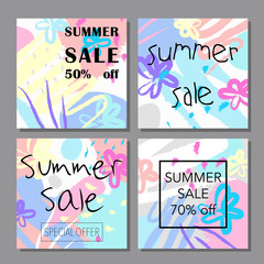 Set of artistic colorful universal cards. Summer sale cards with golden texture