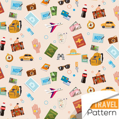 travel icons pattern - vector