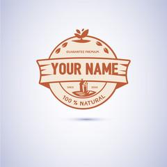 Farm badge. logo in vintage style - vector illustration