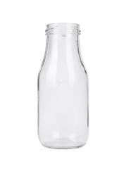 An empty vintage style glass milk bottle