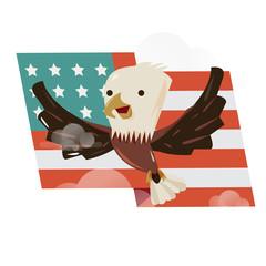 flying bald eagle with US flag behind. character design - vector illustration