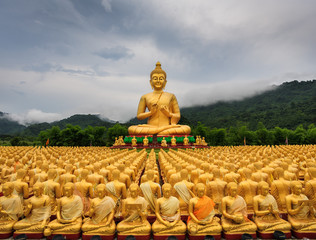 Golden Buddha statues ,mountain,background , raining fog