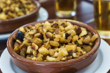 "Spanish ""migas"". Authentic spanish tapa served in traditional restaurants in Madrid."