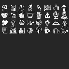 Business finance marketing internet shopping doodle icons
