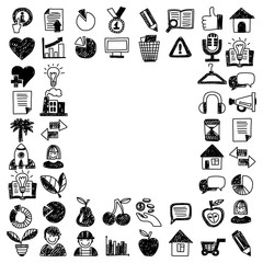 Business finance marketing internet shopping doodle icons