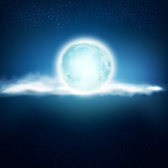 vector background with a full moon and clouds on a dark blue bac