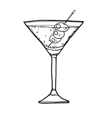 vector Olive Martini Cocktail with Olive hand drawn line art cut