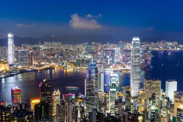 Printed kitchen splashbacks Australia Hong Kong cityscape at night