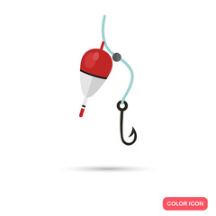 Fishing bobber and hook color flat icon