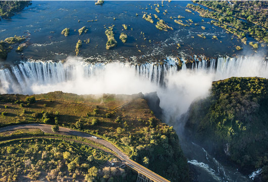 View of the Falls from a height of bird flight. Victoria Falls. Mosi-oa-Tunya National park.Zambiya. and World Heritage Site. Zimbabwe. An excellent illustration.