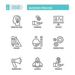 Thin line icons. Business process