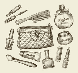 Hand drawn vintage womens cosmetics. Sketch cosmetic bag, face cream, lipstick, perfume, comb, concealer, mascara, makeup brush. Vector illustration