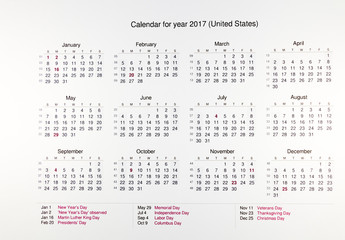 Calendar for 2017 with public holidays on white background