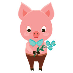 Cute pig character holding flowers, isolated over white