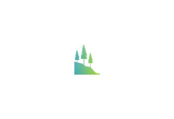 pine tree mountain hill vector logo