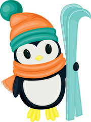 Cute cartoon penguin with skis