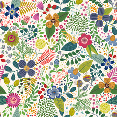 Cartoon seamless pattern with tropical leaves and flowers
