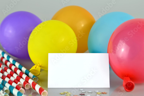 Empty Birthday Card And Balloons Stock Photo And Royalty Free