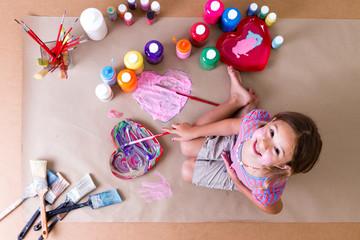 Pretty creative little girl artist