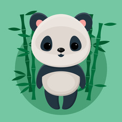 Cute panda standing in front of bamboos on green background