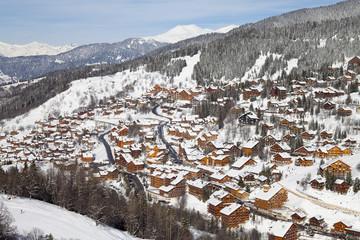 Meribel ski resort (1450m) in the Three Valleys, Les Trois Vallees, Savoie, French Alps, France