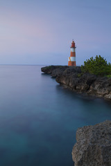 Folly Point Lighthouse at dusk, Port Antonio, Portland Parish, Jamaica