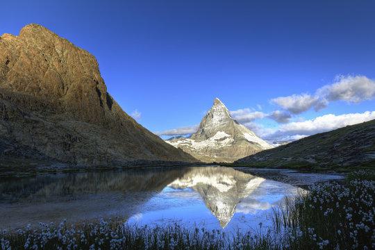 Matterhorn (Cervin) Peak and Riffel Lake, Zermatt, Valais, Switzerland