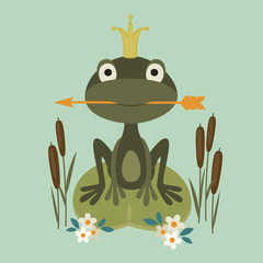 Illustration of a smiling princess frog sitting in the lake and