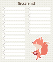 Vector grocery list with cute fox going shopping