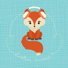 Cute fox with set of headphones listening music