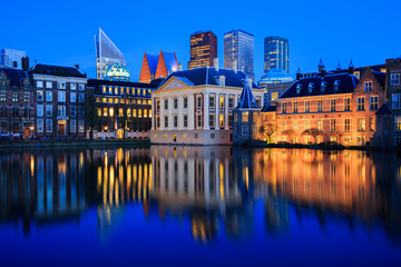 Skyline of The Hague at dusk during blue hour