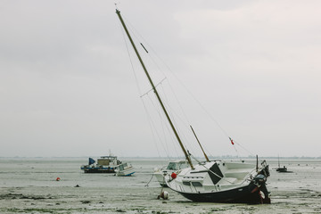 Boats in mudflats