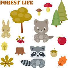 Forest life icons set