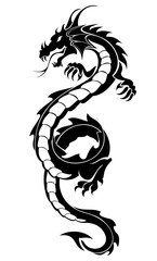 Black tribal dragon tattoo vector illustration