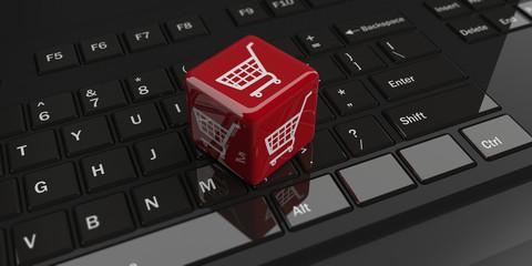 e-commerce symbol on a black keyboard. 3d illustration