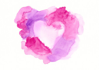 Pink and purple framed heart watercolor painting