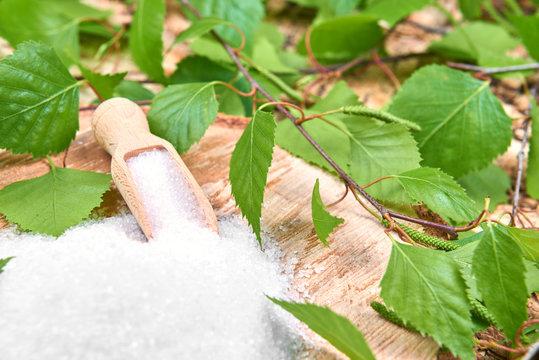 Xylitol birch sugar on a birch background
