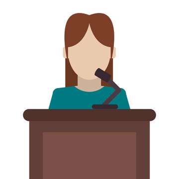 flat design woman speaking on stand icon vector illustration
