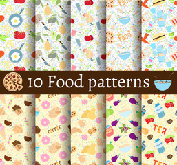 set of 10 food seamless patterns