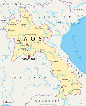 Laos political map with capital Vientiane, national borders, important cities, rivers and lakes. Also known as Muang Lao, a landlocked country in Southeast Asia. English labeling. Illustration.
