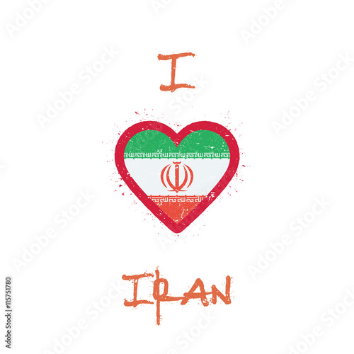 I Love Iran T Shirt Design Iran Flag In The Shape Of Heart On W