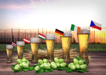 Concept of world beer consumption. 3D render