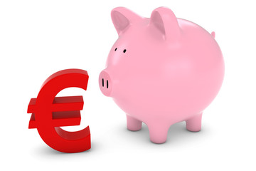 Piggy Bank with Euro Symbol 3D Illustration